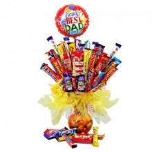 20 Chocolate bars bouquet with 1 Father's Day Mylar Balloon