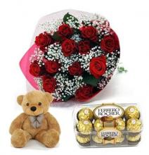 Red Roses, Ferrero Rocher and  Free Teddy Bear