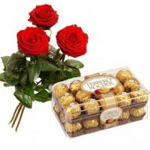 3 Red roses with Ferrero Chocolate