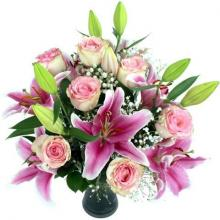 Red roses and Pink Lilies Bouquet