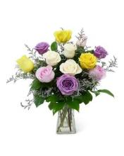 18 Mixed colour Roses Vase