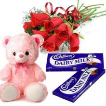 Teddy Bear with Roses and Chocolates