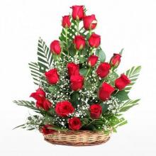 18 Red Roses Basket
