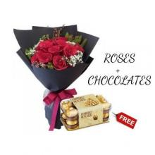 Valentines 12 Red Roses Bouquet with FREE Chocolate box