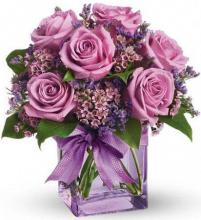 6 purple roses bouquet