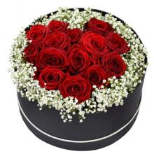 Round Box of 12 Red Roses