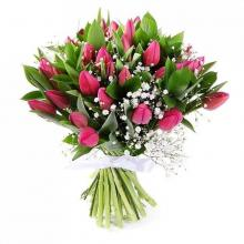 12 red roses and 6 pink tulips in vase